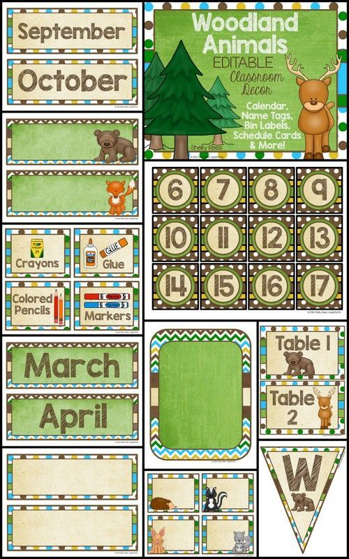 Classroom Decor Templates ~ Classroom decor woodland animals and on pinterest