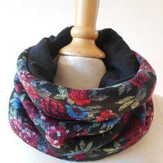 Snood col écharpe chaude et agréable motifs fleurs intérieur molleton noir
