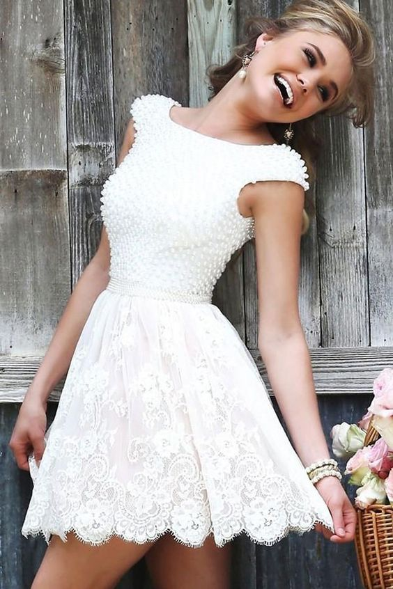 Princess Appliques Lace Homecoming Dresses, Scoop Beaded Irregular Short Prom Dress HCD109