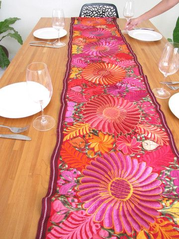 Embroidered flowered table runner handmade in Chiapas ...