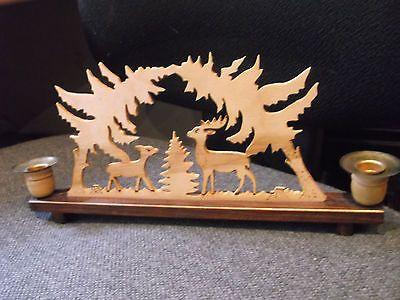 Reizender alter Schwibbogen,alte Handarbeit mit Tier+Waldmotiven,Kerzenständer