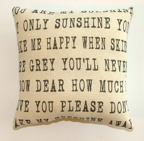 SALE  Entire You are my Sunshine Pillow by cayteelynn on Etsy, $19.95