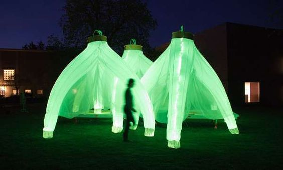 Inflatable Illuminated Pavilions - The Fantastic Trailer by Cheryl Baxter Glows in the Evening