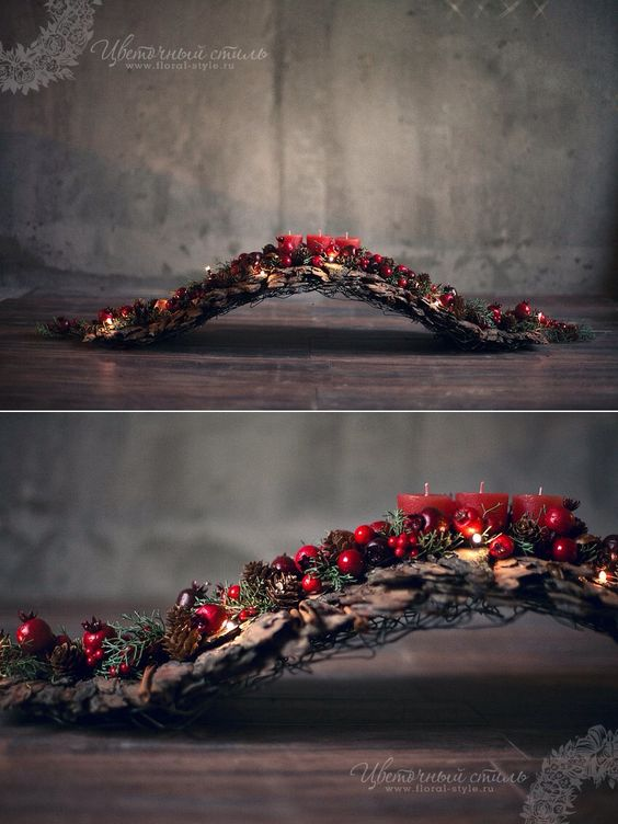What a creative base for a natural arrangement; driftwood would look perfect. chtige boog..: