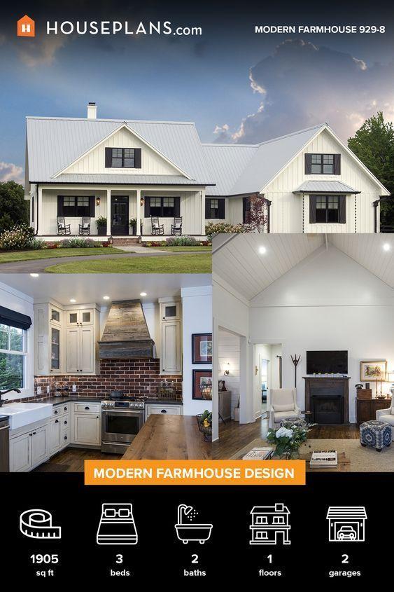 Modern Farmhouse Plan In 2020 Modern Farmhouse Plans Country Style House Plans Farmhouse Plans