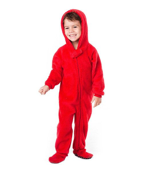 Footed Pajamas Red Heat Wave Chenille Hooded Footie - Toddler ...