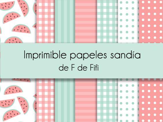 Imprimible gratis papeles para scrapbooking: motivo sandía | Blog F de Fifi: manualidades, DIY, maternidad, decoración, niños.