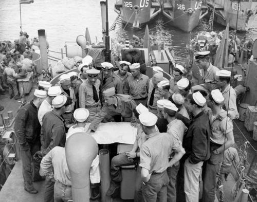US Navy briefing off shore Normandy.