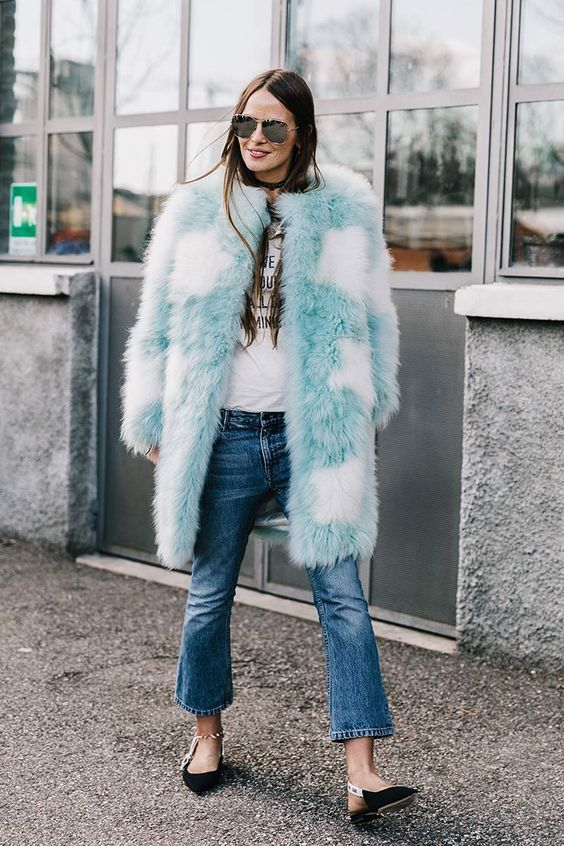 Colored Fake Fur Street Style Faux Fur Blue Faux Fur Star Jacket Denim Baby Blue Coat Star Print Street Style Clothes Street Style Inspiration