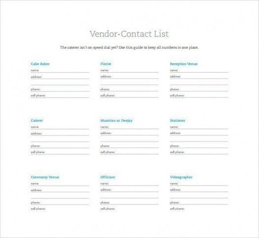 Best Wedding Vendor Contact List Template Sample In 2021 Contact List Template Contact List Wedding Vendor List