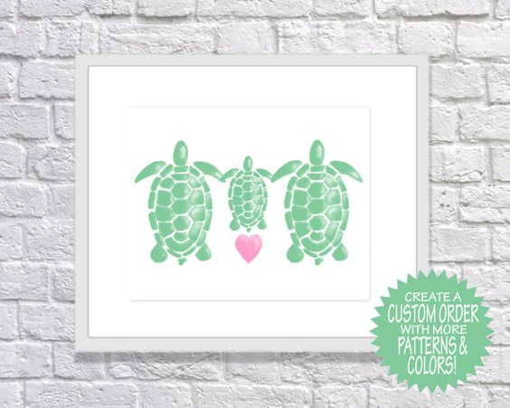 Turtle Print: TURTLE FAMILY Printable Art for by TwooverTwoStudio