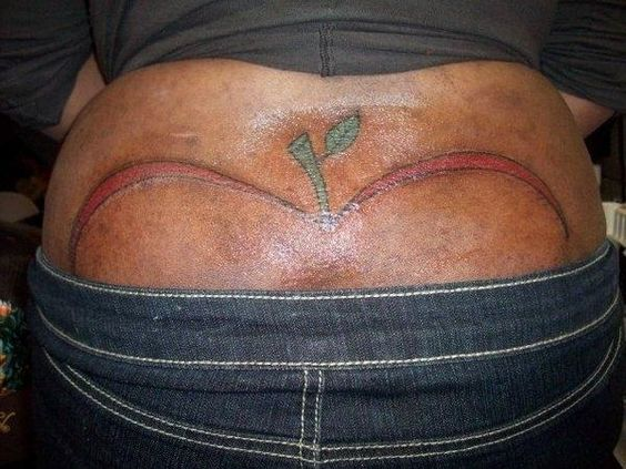True Apple Bottoms In This Picture: Photo of gross apple tattoo