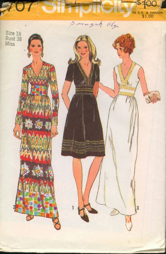 "Simplicity 9707; ©1971; Misses' Dress in Two Lengths: The dress with back zipper and ""V"" shaped neckline has bodice and gathered skirt stitched to midriff."