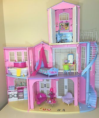 Mattel Barbie 2006 3 STORY DREAM Doll HOUSE PLAYSET  VGUC SOUNDS w  Furniture
