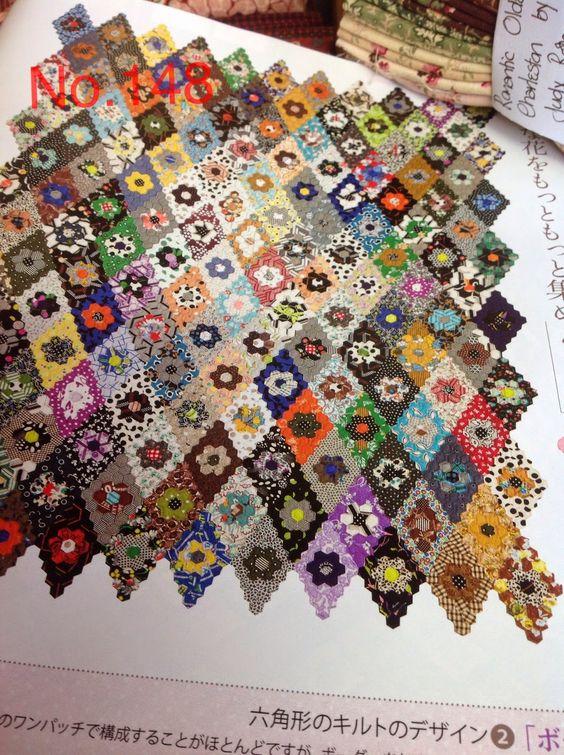 Threadbear:Hexie layout diamonds = great use of scraps: