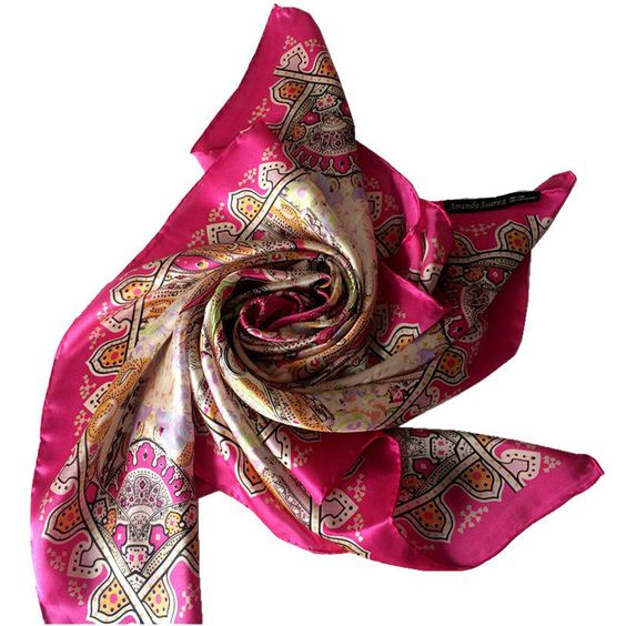 Women'S Fashion Soft Square 100% Silk Scarf 89*89Cm Printing Shawl Wholesalehw36
