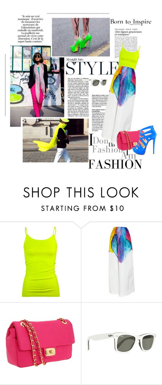 """""""Neon addicted"""" by effrene ❤ liked on Polyvore featuring Full Tilt, Jil Sander, Love Moschino, Ray-Ban, Christian Louboutin, neon, chanel, loubutins, jil sander and street fashion"""