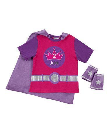 Look at this #zulilyfind! Magenta Crown Personalized Tee & Cuff Set - Toddler & Girls #zulilyfinds