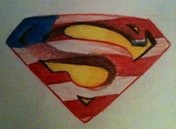 Original art by my best friend! Patriotic superman tattoo idea