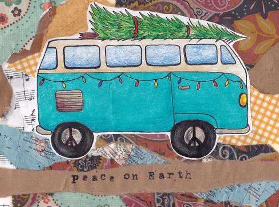 Holiday Card - VW Bus Peace on Earth - Unique / Whimsical / Vintage / Fun / Adventure -Etsy