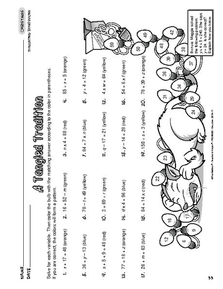 Printables Evaluating Algebraic Expressions Worksheets christmas worksheets colors and equation on pinterest worksheet evaluating algebraic expressions a tangled tradition