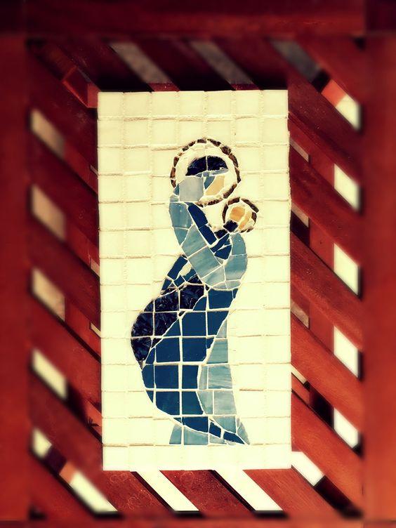 Nativity Christmas Religious Wall Art Mary and Jesus Mosaic ...