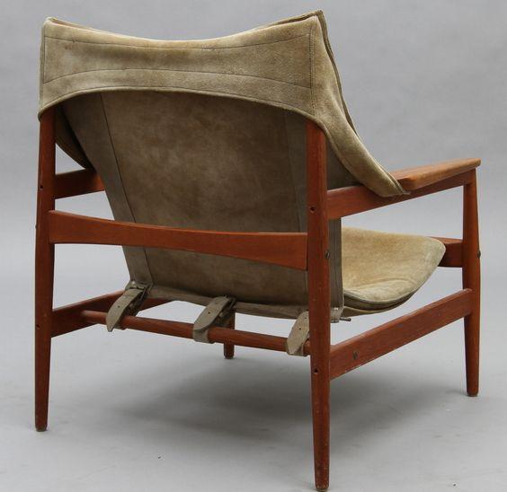 Hans Olsen; Teak and Suede Sling Chair for Viska Mobler, 1960s ...