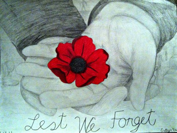 Remembrance Day art - a simple poppy held in the hand, can mean so much. Anzac remembrance tribute 2016