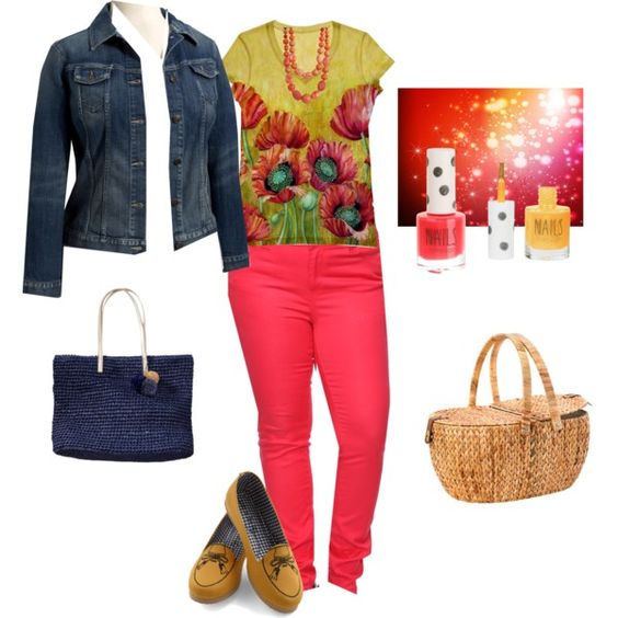 """""""Mustard coral and navy"""" by maryjhenry on Polyvore"""