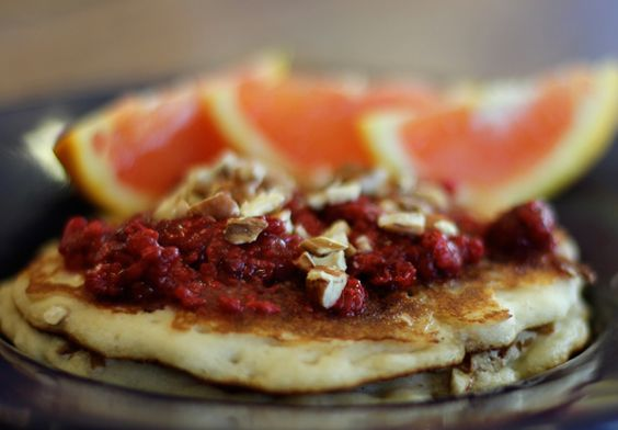 Coconut Flour Pancakes w/ Toasted Pecans & Raspberries #glutenfree  Delicious served with fresh oranges!