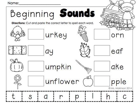 November Printables - Kindergarten Literacy and Math   Cut and ...