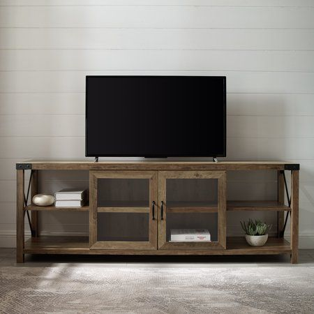 Magnolia Metal X 70 2 Door Reclaimed Barnwood Tv Stand By Desert Fields Walmart Com Living Room Tv Stand Dark Wood Tv Stand Farmhouse Tv Stand