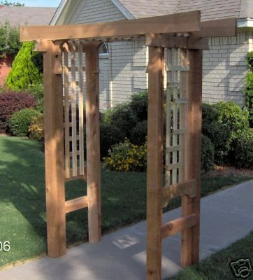 New japanese style cedar wood garden arbor pergola arch for Japanese garden trellis designs