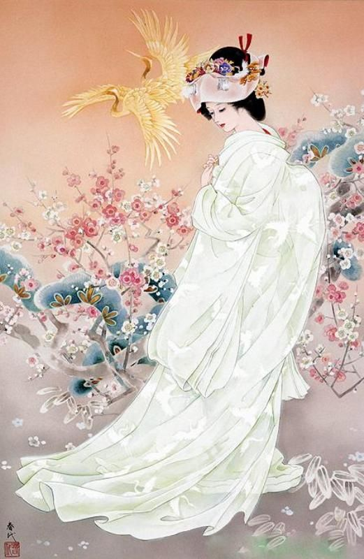 Japanese Woman in White | Tattoo Ideas & Inspiration - Japanese Art | Haruyo Morita | #Japanese #Art: