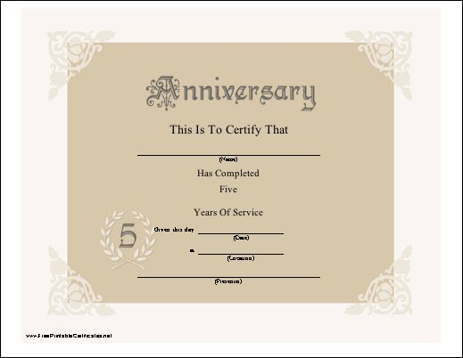 A pretty lacy anniversary certificate honoring 5 years of for Work anniversary certificate templates