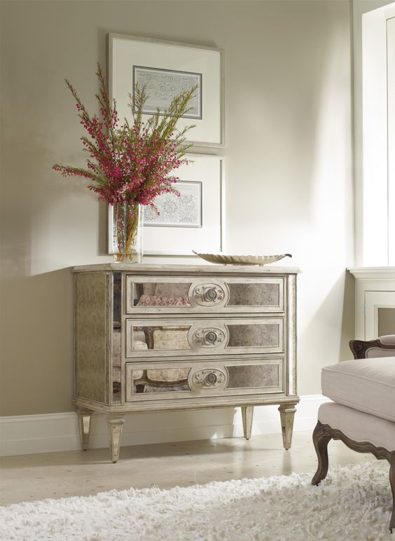 Living Room Accents 3-Drawer Antique Mirrored Chest By Hamilton