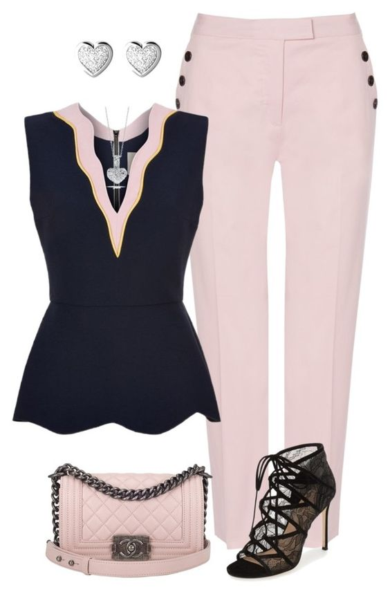 """""""Sin título #1567"""" by marisol-menahem ❤ liked on Polyvore featuring Jaeger, Pour La Victoire, Chanel, Roksanda, Roberto Coin and Links of London"""