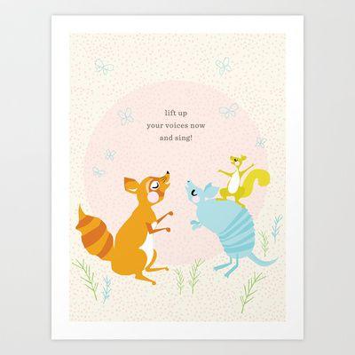 Raccoon & Armadillo Singing Art Print by Lay Baby Lay  - $18.00