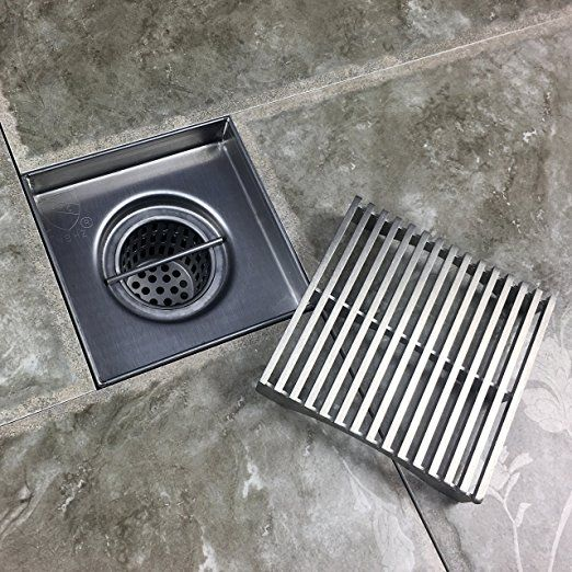 Neodrain Square Shower Drain With Removable Heel Guard Grate 4