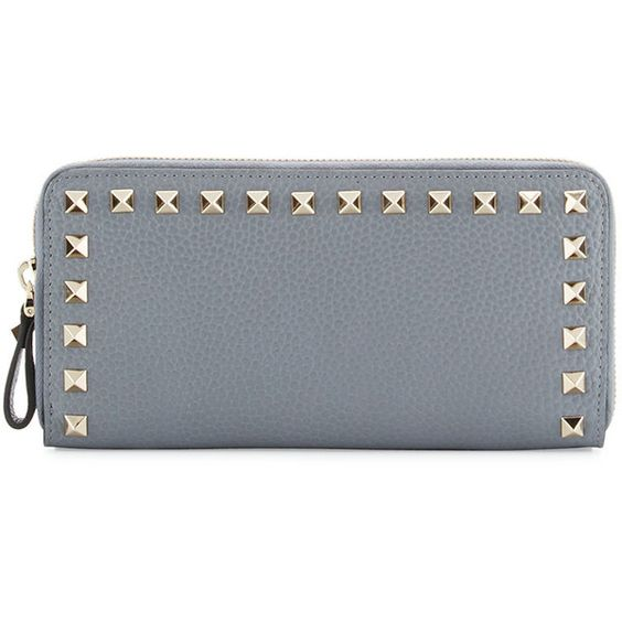 Valentino Rockstud Zip-Around Wallet ($740) ❤ liked on Polyvore featuring bags, wallets, light gray, zip bag, zipper wallet, zip wallet, valentino wallet and 12 card wallet