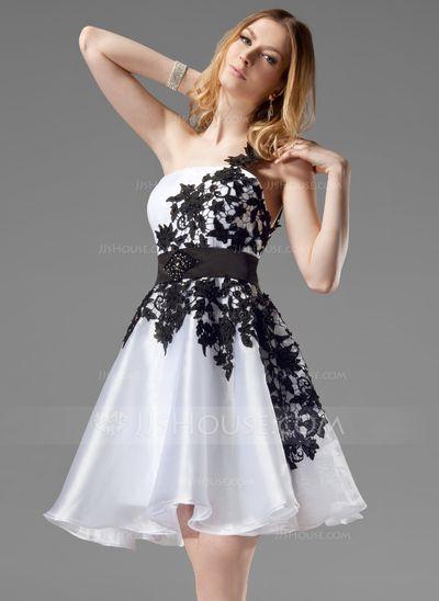 Vestidos de boas vindas - $132.99 - Vestidos princesa/ Formato A Um ombro curto comprimento Organza de Cetim Vestido de boas vindas com Renda Cintos Bordado (022004454) http://jjshouse.com/pt/Vestidos-Princesa-Formato-A-Um-Ombro-Curto-Comprimento-Organza-De-Cetim-Vestido-De-Boas-Vindas-Com-Renda-Cintos-Bordado-022004454-g4454