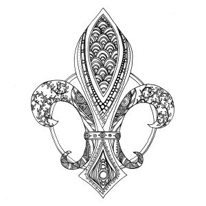 Art Therapy for Adults - Free printable coloring page for grown ups - Lily flower - Fleur de Lys - dessin imprimable à colorier pour adultes