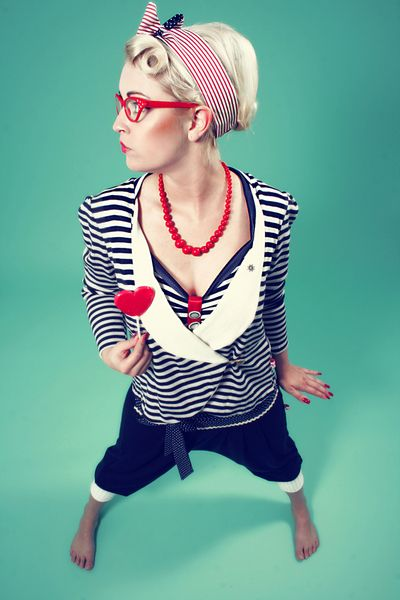 Overalls & Jumpsuits - Hose/Jumpsuit 'Olga' Punkte Marine - ein Designerstück von mydearlove bei DaWanda, polka dot bow tie pants, navy striped cardigan