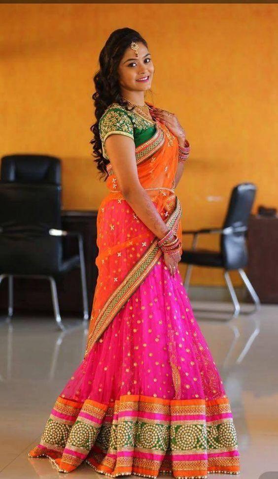 14 Traditional Half Saree Hairstyle Ideas Tips Keep Me Stylish Half Saree Designs Half Saree Lehenga Saree Hairstyles