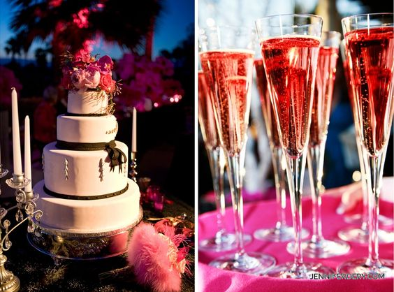 hot pink wedding decor photos. hot pink and black wedding cake.