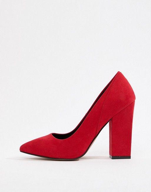 wide fit red block heels