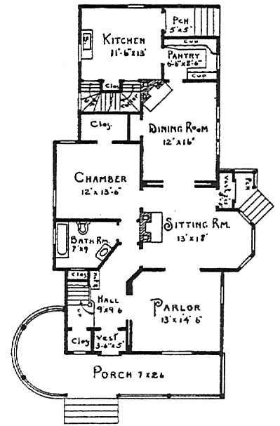 Queen anne victorian design and plans 1896 click through for Queen anne house floor plans