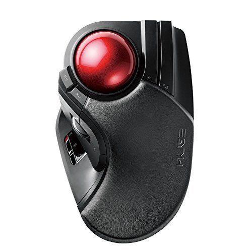 Elecom Trackball Mouse Wireless Big Ball 8 Button Tilt Black
