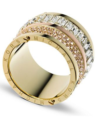 This is GORGEOUS! Michael Kors Ring, Gold Tone Pave and Stone Barrel Ring - Fashion Jewelry - Jewelry & Watches - Macy's