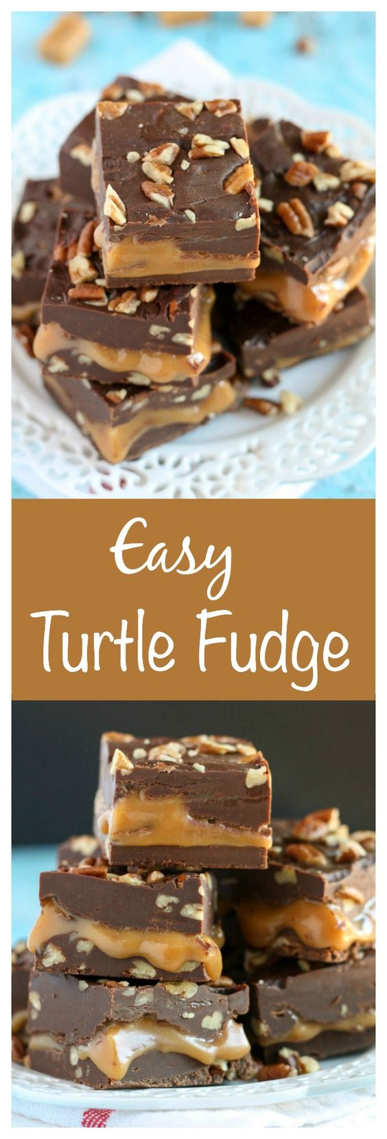 An easy chocolate fudge recipe with a caramel center and chopped pecans. Everyone will love this Turtle Fudge!